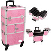 professional pink leather makeup train case,hard case trolley bag,professional cosmetic trolley cases with drawer