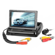 "4.3"" TFT LCD Folding Car Rear-View Stand Security Monitor and Camera Kit"
