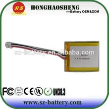 automotive new high lithium 3.7v 2000mah li-po battery products on china market