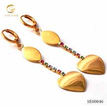 Multi-color cubic zirconia earring/yellow gold filled women heart dangle earring