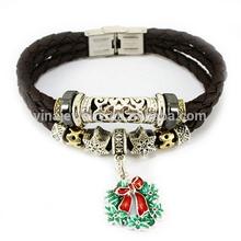 Promotion product tibet silver bead black leather bracelet with Santa Claus hat pendant