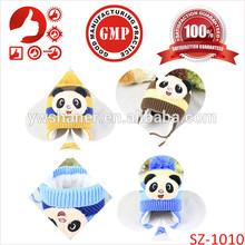2014 panda knitting patterns animal hats crochet earflap design for children American promotinal children hats