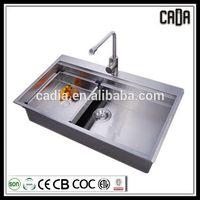 Good quality stylish Top mounted 860x470x220mm Single bowl kitchen handmade heat glass sink