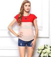 2015 most popular color matching women t-shirt/woman summer t-shirt