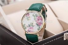2014 new fashion leather roses geneva watch women look stylish dress quartz watch