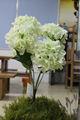 Atacado flores artificiais hortênsia, branco hortênsias flores de corte