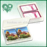 P. P Material Plastic Playing Cards Box 2 Decks of Bridge card Size