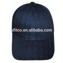 6 panel buckram whole cap with print all over navy good price baseball cap
