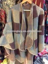100% Arylic Knitted Cashmere Poncho Shawl