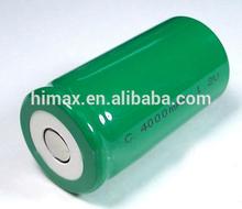 manufacturer high quality nimh C 4000mAh 1.2v battery pack/Ni-mh C 1.2V 4000 Batteries flat top