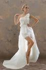 A Line One Shoulder Mini/Short Embellished Tulle Wedding Dress[RBT10782S]