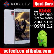 supper slim Kingplay K55S cellphone 5.5 inch IPS big screen quad core MTK6582 telefonos CELULARES1G/8G