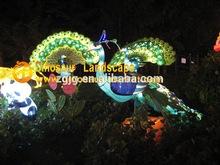 metal solar garden chinese silk lanterns of peacock in Canada Fair