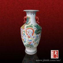Ancient style gloss glazed pastel round ceramic vase in Kangxi dynasty