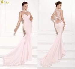 ED-344 2015 Tarik Ediz Mermaid Sleeveless Lace Detail Pink Long Evening Dress