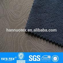 Brown Black geometrical pattern emboss polar fleece bonded waterproof fabric with TPU for sportswear jacket