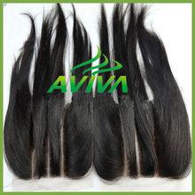 Silk straight Human Virgin Hair Lace Closure baby hair three way part silk top lace closure bleahced knots cheap lace closure