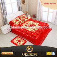 New Style 100% Polyester Korean Blanket Bed sheet 5PCS Sets