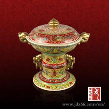 Popular design color glazed enameled ceramic vase with flower animal ear for best sale
