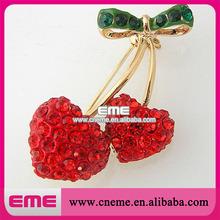 Double Red Cherries Cute Style Rhinestone Brooch Wedding Accessories