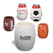 PU anti stress reliever can holder,football,soccer,basket,base,golf ball shape bottle holder
