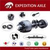 All kinds of trailer axle parts- axle beam, brake drum, wheel hub