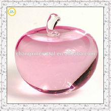 pink crystal apple , hotting sale crystal for christmas gift