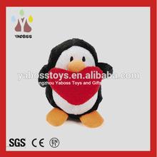 Custom Stuffed Plush Toy Penguin , Plush Penguin Toys With Red Heart