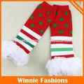 Chegada nova! Winniefashions listrado dot design ruffle polainas de crianças