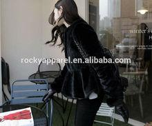 fashion lady warm black fur coat