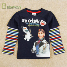 Design Hans Olaf Frozen Pattern Navy Long Sleeved Top T Shirts Clothing Wholesale baby Boy T Shirt frozen t-shirt sports t-shirt
