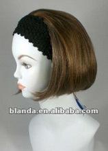 Short Straight Chin-length bob style 3/4 Cap Wig Fall