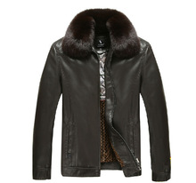 china men's pu leather jacket with fur collar
