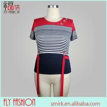 DT173# ladies striped t-shirt wholesale guangzhou garment factory