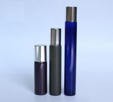 10ml roll on glass bottle for cosmetic packaging , glass bottle with metal roll on, for liquid packing
