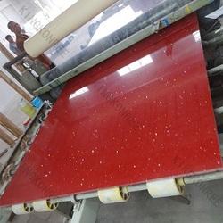 Red man-made sparkle quartz stone , quartz stone surface adhesive