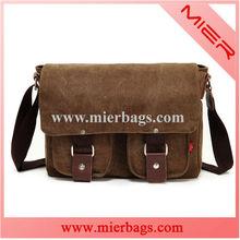 Coffee Vintage Canvas Genuine Leather School Laptop Shoulder Messenger Bag