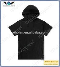 Summer blank pocket zipper design short sleeve man wear custom hoodies