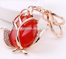 YiWu Wholesale New Design Fashion Wholesale Enamel Crystal Rhinestone Resin Rose Keychain , Key ring , Key Chain SY15299