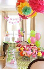 Flower Shop Themed Birthday Backdrop Decor Tissue Paper Pom Poms Balls Paper Fans Crepe Streamer Hanging Baby shower decorations