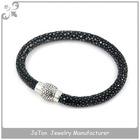 Round Black Stingray Bracelet Leather