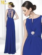 MI-009 Tony Scoop Neck Sleeveless Floor Length Appliques Royal Blue Mother Of The Bride Dresses
