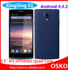 5.5 inch KingSing S1 mobile phone Android 4.4 MTK6582 Quad Core 3G phone KingSing S1