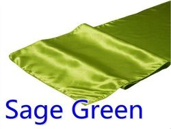 hot selling ployester satin table runner for wedding decoration, sage green color