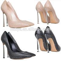Women beautiful fashion crystal high heel shoes pointed toe metal heel women shoes