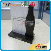 Acrylic A5 coca colo bottle shape menu holder