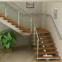 Hotel /Villa Stairs L staircase low price wooden tread soild rod balustrad