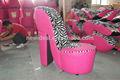 Buen aspecto de tela zapatos de tacón alto en silla de gran tamaño( no72l)