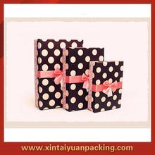 2014 Alibaba Elegant Paper Polka Dot Pattern Gift Packaging Box With Bowknot Ribbon