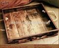 vintage madeira bandeja de madeira com punho de madeira do ofício
